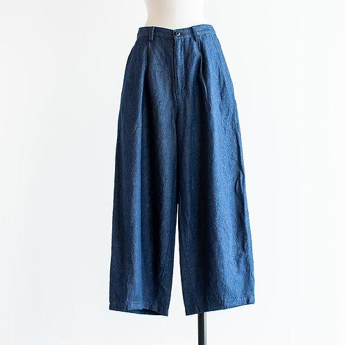 Cotton Linen Denim Tuck Wide Pants