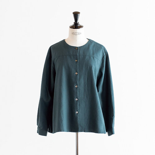 Cotton Linen Wool Crew Neck Blouse
