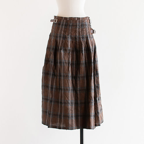 Linen Multi Check Kilt Skirt