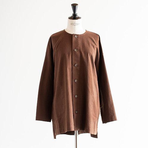 Cotton Linen Nocollar Shirt Jacket