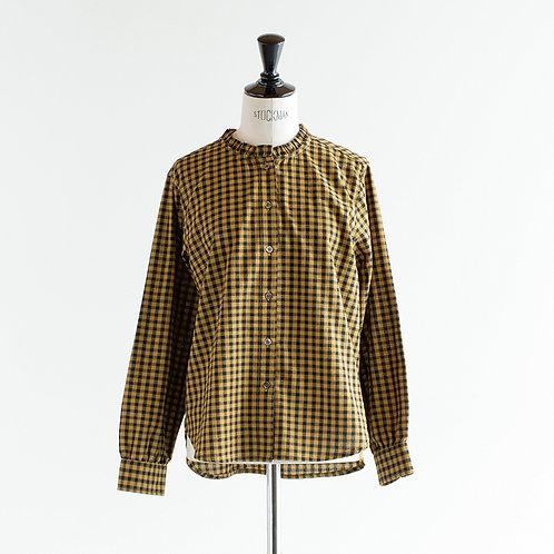 Cotton Gingham Frill Collar Shirts