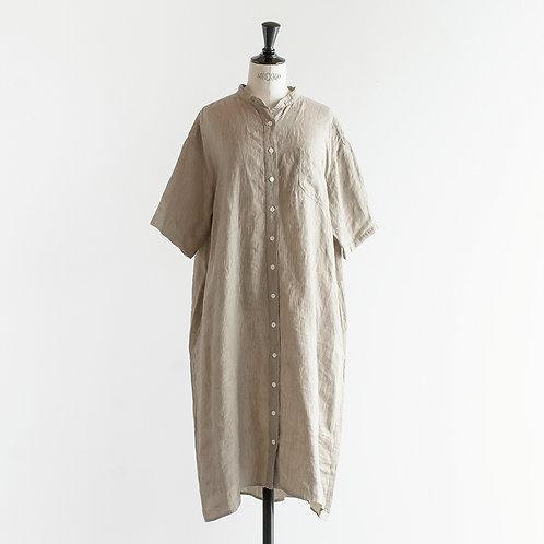 Belgium Linen Overdye Bandcollar Shirts Onepiece