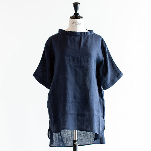 Linen Stand Collar Pullover
