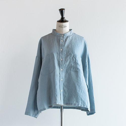 Linen Band Collar Wide Shirt