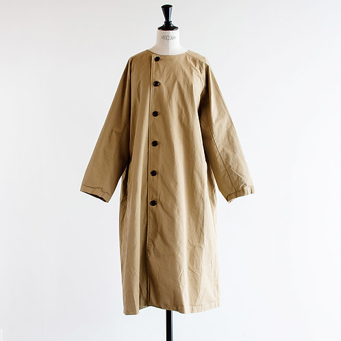 Cotton Twill No Collar Coat