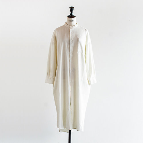 Cotton Linen Wool Band Collar Shirt Onepiece