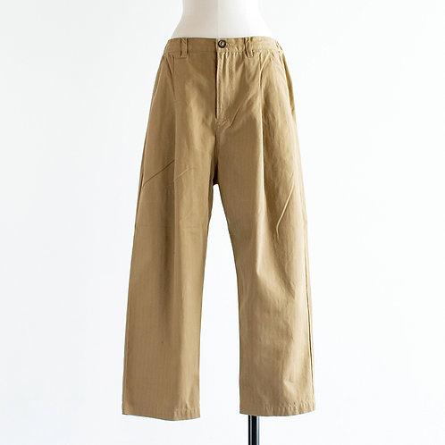 Cotton Herringbone Tuck Pants