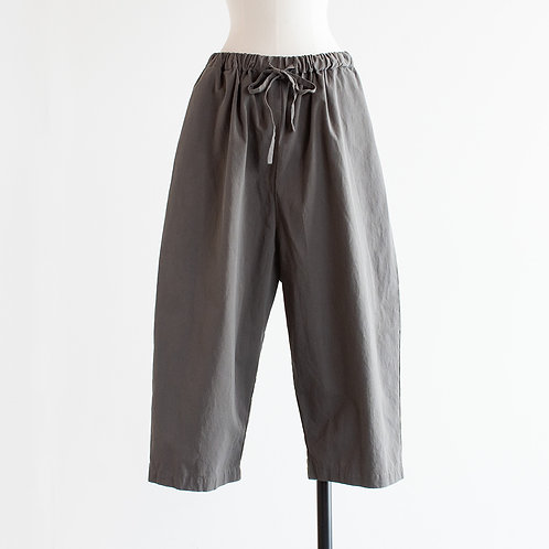 Cotton Twill Gather Wide Pants