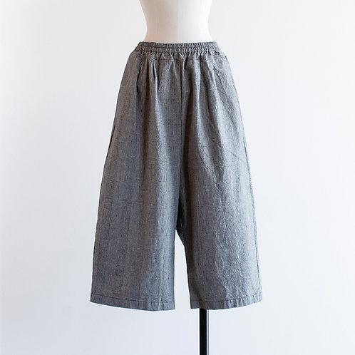Cotton Linen Wide Cropped Pants