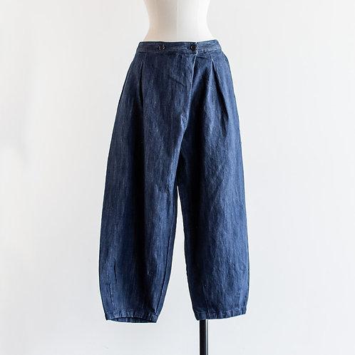 Cotton Linen Denim Wrap Ballon Pants
