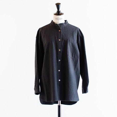 Cotton Linen Glencheck Bandcollar Shirt