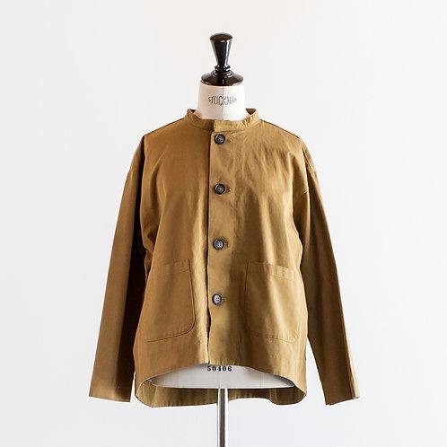 Cotton Twill Band Collar Jacket