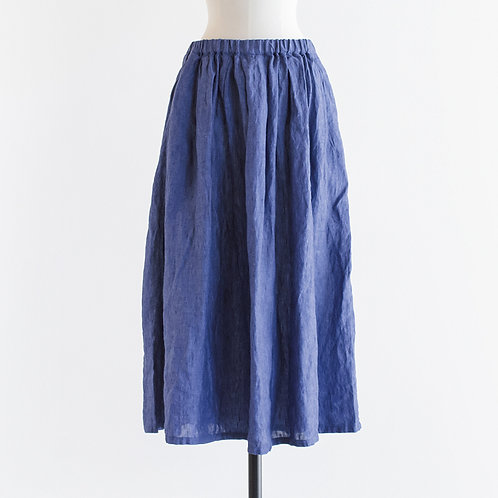 Linen Chambray Tuck & Gather Skirt