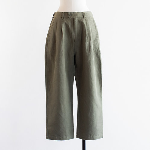 Cotton Linen Twill Tuck Pants
