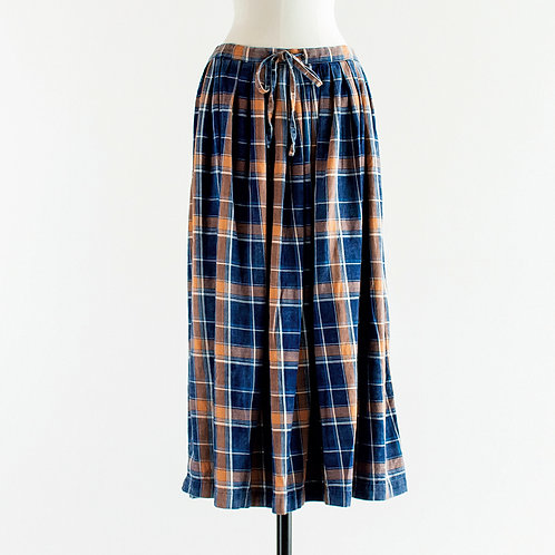 Cotton Indigo Check Gather Skirt