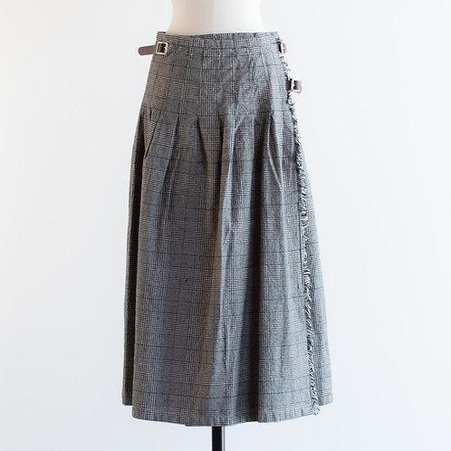 Cotton Linen Glencheck Kilt Skirt