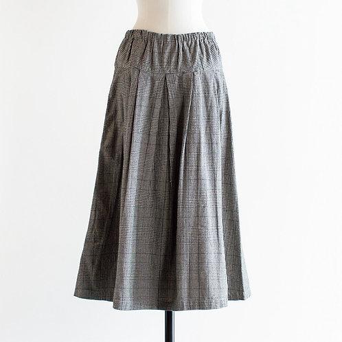Cotton Linen Glencheck Tuck Skirt