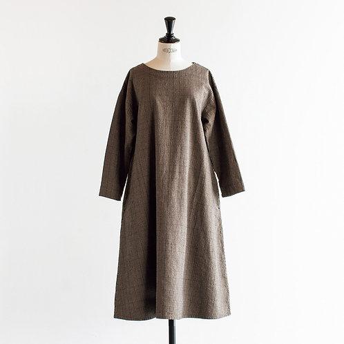 Cotton Linen Glencheck Pullover Onepiece