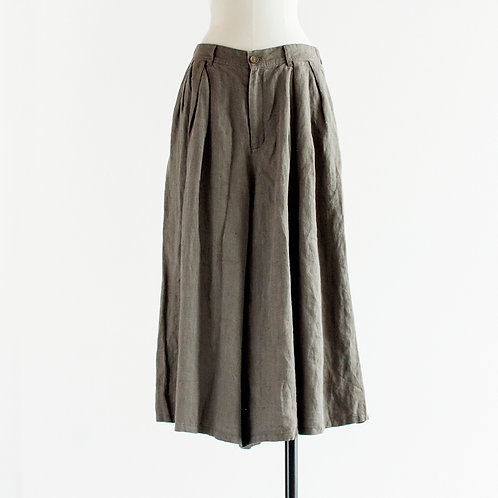Linen Herringbone Tuck Wide Pants