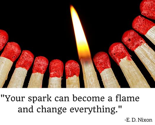 spark, flame, change, E.D. Nixon
