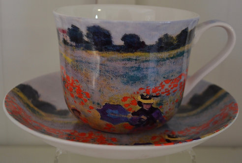 Heritage Bone China B'fast Cup/Saucer- Monet Poppy Field