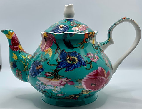 Heritage Stoke on Trent Fine Bone Teapot - Anthina Turquoise