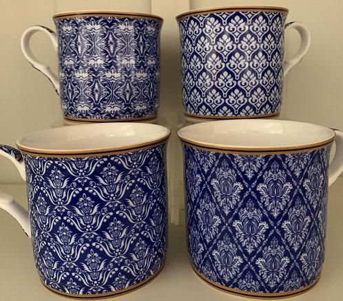 Heritage Fine Bone China Princess Mug Set 4 - Moroccan Blue
