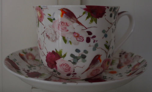 Heritage Bone China B'fast Cup/Saucer- Bird Bouquet