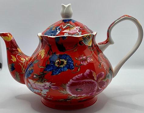 Heritage Stoke on Trent Fine Bone Teapot - Anthina Red