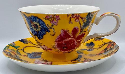 Heritage Stoke on Trent Fine Bone China Cup/Saucer- Anthina Honey