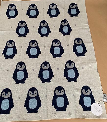 Kenzi Living Cotton Cot/Pram Blanket - Penguin Blue
