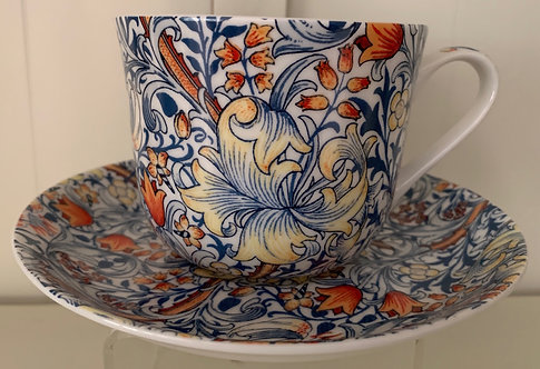Heritage Bone China B'fast Cup/Saucer- Blue Lily