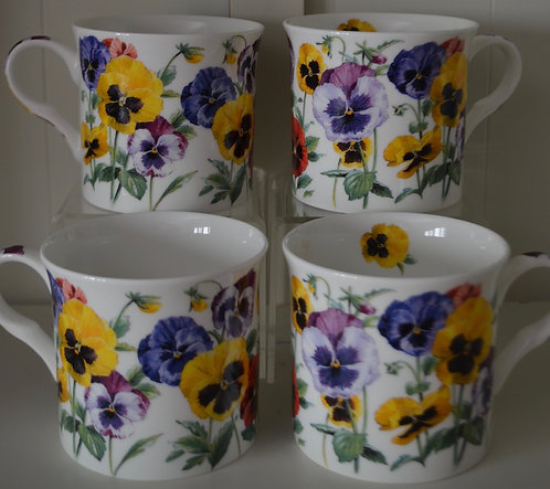 Heritage Fine Bone China Set of 4 Mugs - New Pansy