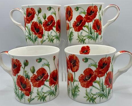Heritage Fine Bone China Set of 4 Mugs - Summer Poppy