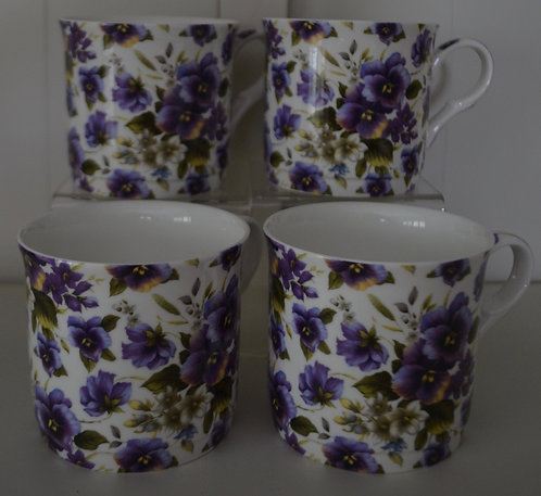 Heritage Fine Bone China Mug Set 4 - Summer Pansy