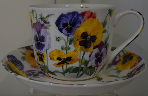 Heritage Bone China B'fast Cup/Saucer- Pansy