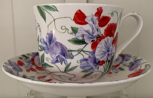 Heritage Bone China B'fast Cup/Saucer- Sweet Pea