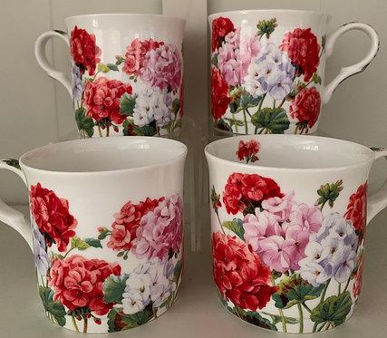 Heritage Fine Bone China Princess Mug Set 4 - Geranium