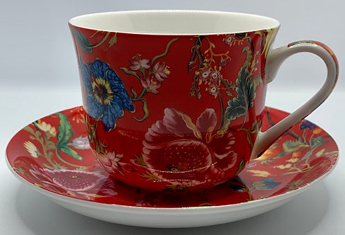 Heritage Stoke on Trent Fine Bone China B'fast Cup/Saucer- Anthina Red