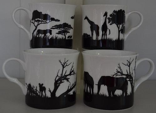 Heritage Fine Bone China Princess Mug Set 4 - African Safari