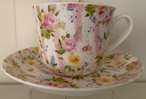 Heritage Bone China B'fast Cup/Saucer- Pink Bouquet