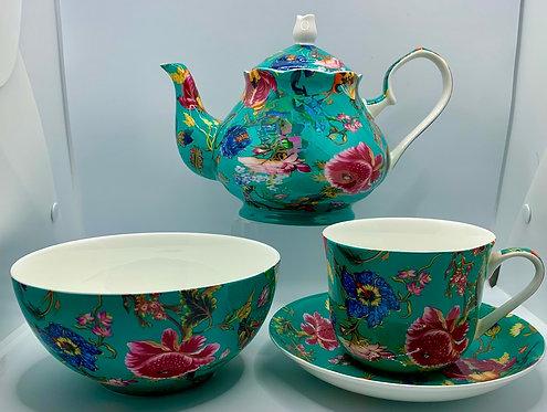 Heritage Stoke on Trent Fine Bone Teapot - Anthina Turquoise Combo
