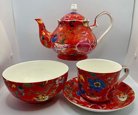 Heritage Stoke on Trent Fine Bone Teapot - Anthina Red Combo