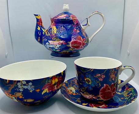 Heritage Stoke on Trent Fine Bone Teapot - Anthina Blue Combo