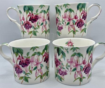 Heritage Fine Bone China Set of 4 Mugs - Fuchsia