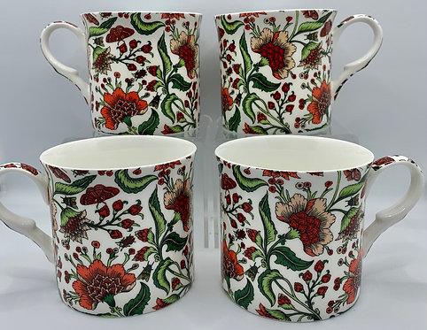 Heritage Fine Bone China Mug Set 4 - Oriental Peony