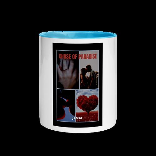 Jamal Byes: White Ceramic Mug w/ Color Inside: BLUE