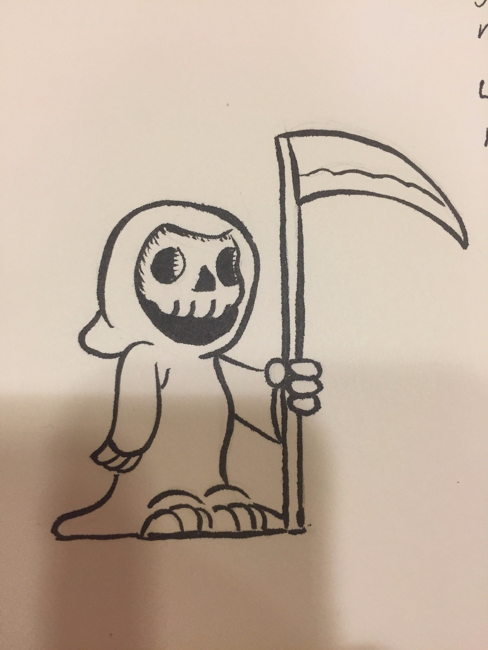 A doodle of a friendly Death