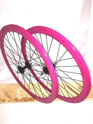 Wheelset Single Speed w/ deep alloy rim w/ flip-flop hub (purple)