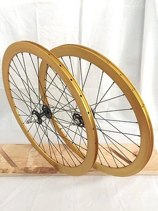 Wheelset Single Speed w/ deep alloy rim w/ flip-flop hub (gold)